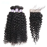 Malaysian Curly Hair Bundles With Closure Free/Middle/Three