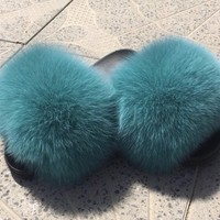 Sea teal  fox fur slides