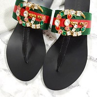 Gucci double G metal logo colorful diamond agate herringbone sandals slippers shoes