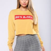 90's Baby Graphic Top - Mustard