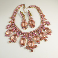 Pink Czech Glass Statement Necklace and Clip earrings