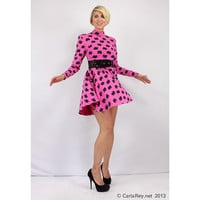 BETSEY JOHNSON hot pink fit and flare mini dress. 1980's punk label. Bold patterned party dress.