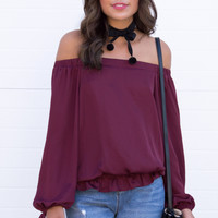 Khloe Off The Shoulder Silky Top - Wine