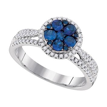 14k White Gold Round Blue Sapphire Cluster Circle Frame Diamond Ring 7/8 Cttw
