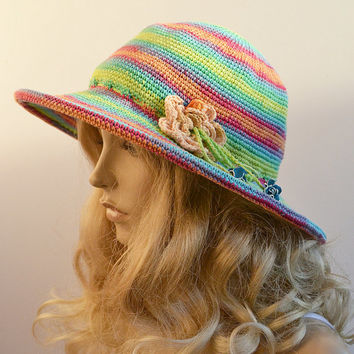 Women Slouchy Hat COTTON  Cute Crochet Summer Hat aWeSomE Style tam romantic feminine Panama hat