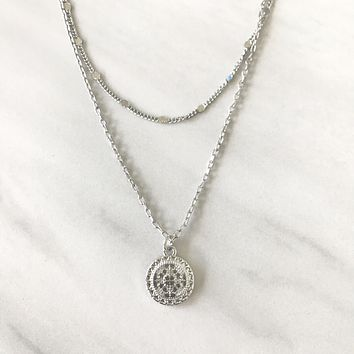 Legendary Medallion Silver Layered Necklace