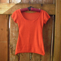 Eco T Shirt/ Salvaged Orange Terry Cloth by FuriousDesigns