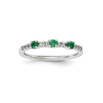 14K White Gold Real Diamond and Emerald 3-Stone Ring
