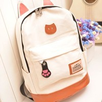 Cat Ears Canvas Backpack