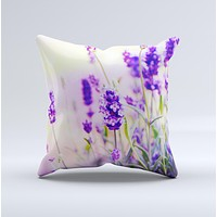 Lavender Flower Bed ink-Fuzed Decorative Throw Pillow