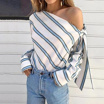Women Striped One Shoulder Bowtie Blouse Skew Collar Long Sleeve Sexy Female Blouses Casual Ladies Tops