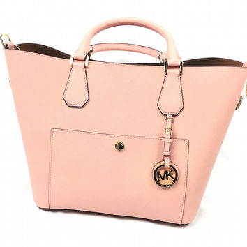 Pink Michael Kors Greenwich Saffiano Leather Large Grab Bag
