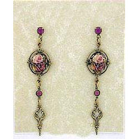 Cameo Antique Rose Porcelain Crystal Earrings in Leaf Frame