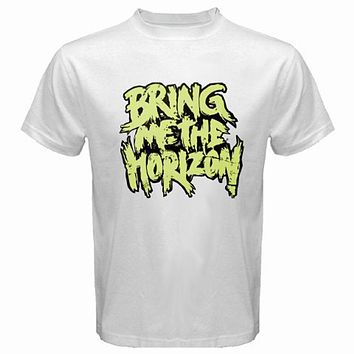 New BMTH Bring Me The Horizon Rock Band Logo Men's White T Shirt Size S to 3XL|T-Shirts