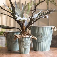 Rustic 'Flowers and Garden' Iron Pot with Rope Handles (Set of 3)