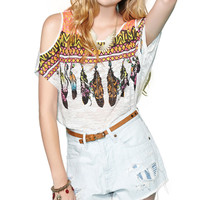 Colorful Geometry Feathers Strapless T-shirt