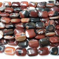 natural dream banded agate rectangle beads - semi precious gemstone beads - natural gemstone beads - wholesale jewelry supplies -15inch