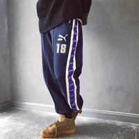 """""""Puma"""" Men Vintage Multicolor Logo Webbing Numeral Embroidery Thickened Sweatpants Leisure Pants Trousers"""
