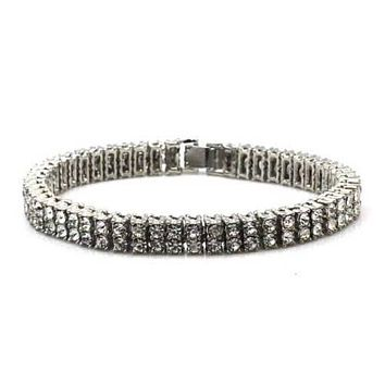 NEW QUALITY 0.5 CARAT WHITE GOLD PLATED 2 ROW CUBIC STONE BRACELET SSB002S