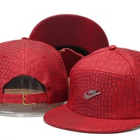 Crocodile Grain hat letters hip-hop hat Nike Snapbacks PU leather Casual Outdoor baseball cap
