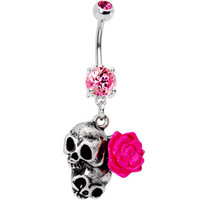 Pink Flower Dual Skull Belly Ring   Body Candy Body Jewelry