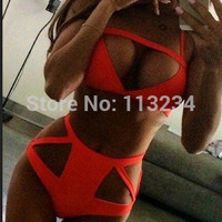 Orange Cut Out Womens Swimwear Bathing Suit