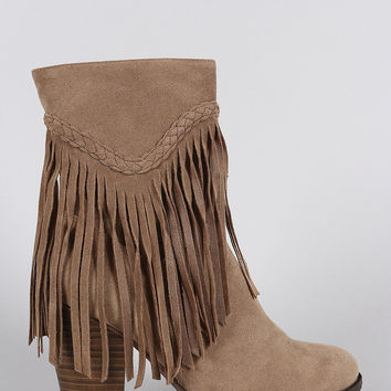 Breckelle Suede Braided Fringe Heeled Ankle Boots