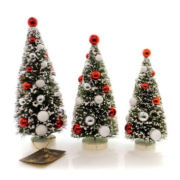 Christmas SCANDINAVIAN BOTTLE BRUSH TREE Plastic Flocked Bulbs Lg4433