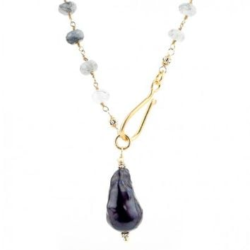 Rutilated Quartz and Black Baroque Pearl Layering Necklace