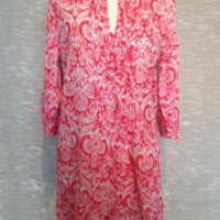 Cotton Coral Tunic Top in Indian Print