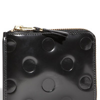 Women's Comme des Garcons Small Embossed Half Zip French Wallet