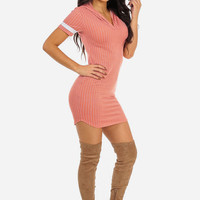 Coral Striped Casual Short Sleeve Mini Dress with Hoodie in DRESSES