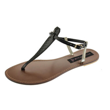 Steven By Steve Madden Womens Starborn Leather Thong T-Strap Sandals
