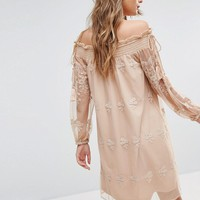 River Island Embroided Lace Bardot Smock Dress at asos.com