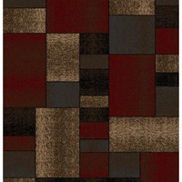 """Iron Bridge Modern Abstract Area Rug, Red, Square Pattern, 7'10""""x10'2"""" [Kitchen]"""