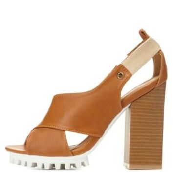 Tan Qupid Lug Sole Crisscross Sandals by Qupid at Charlotte Russe