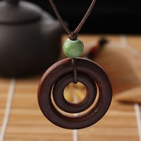 Brown Bead Double circle Pendant - Long Wood Necklace w/ Rope Chain