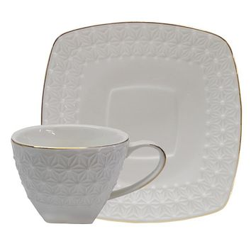 Set of 6 White Bone China Bulk Embossed Teacups & Saucers