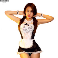 hot lace French Maid hat+lingerie+t-pant+collar+hand
