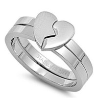 Stainless Steel Puzzles Ring - Heart - Size : 7