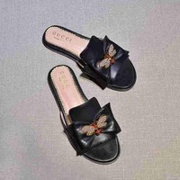Gucci Butterfly Black Casual Fashion Women Sandal Slipper Shoes