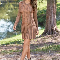 Brown Multi Embroidered Sweater Dress | VENUS