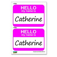 Catherine Hello My Name Is - Sheet of 2 Stickers