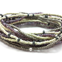 Seed bead wrap stretch bracelets, stacking, beaded, boho anklet, bohemian, stretchy stackable multi strand white grey silver purple hematite