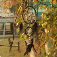 Handmade Black Dream Catcher Circular Net With feathers Wall Hanging Decoration Decor Gift