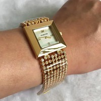 MICHAEL KORS Fashion new diamond watchband white dial women and men watch Golden