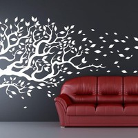 """Tree Decal blowing in the wind  flying leaves. Mural Removable vinyl Decal 77""""x170""""  wall sticker"""