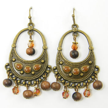 Gypsy Boho Tribal Dangle Earrings in Antique Brass with Wood and Crystal Beads