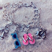 Summer Charm Bracelet- chain link bracelet, palm tree, sunglasses, flip flops, hibiscus charms, ocean and beach inspired jewerly,