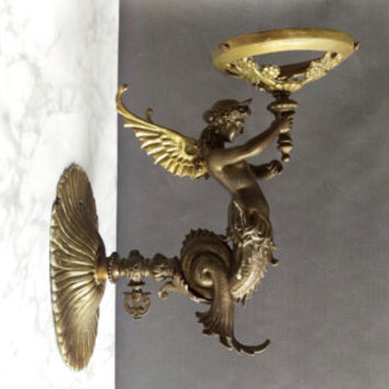 Bronze Mermaid Wall Sconce/ Winged Mermaid Sconce/ Victorian Wall Sconce/ Antique Bronze Sconce/ Mermaid Candle Holder/ Antique Lighting